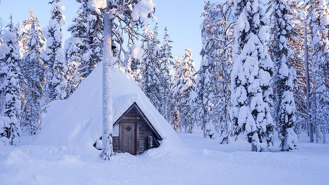 A kota-hut in a forest with a lot of snow.