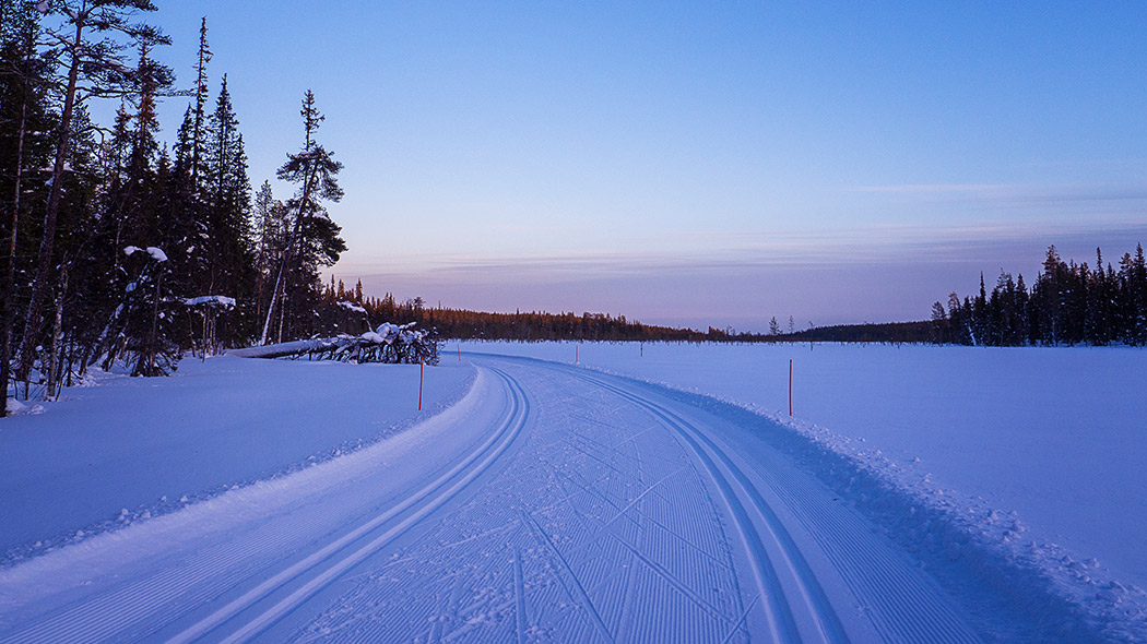 Cross-country ski tracks and a skate corduroy at sunset in a winter landscape.