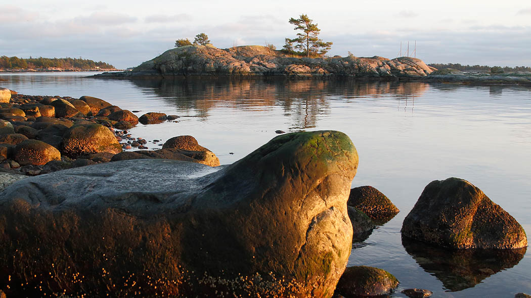 Rocky coast in the autumn evening.