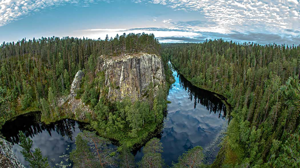 River scenery and fall-coloured trees in Oulanka national park.