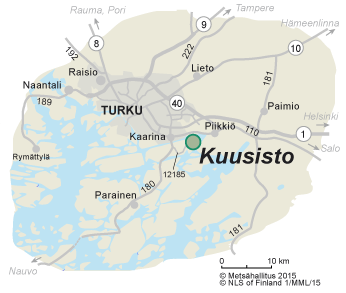 Map of the surroundings of Kuusisto Bishop's Castle Ruins