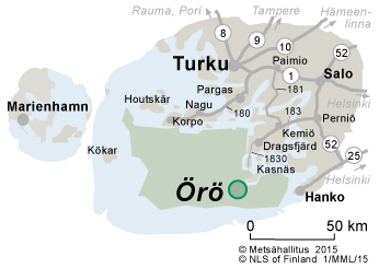 Map of the surroundings of Örö Fortress Island