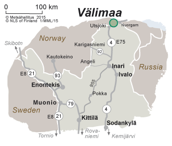 Map of the surroundings of Välimaa River Sámi Farm