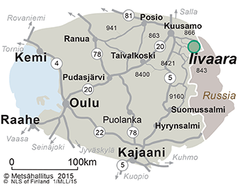 Map on the surroundings of Iivaara Nature Reserve