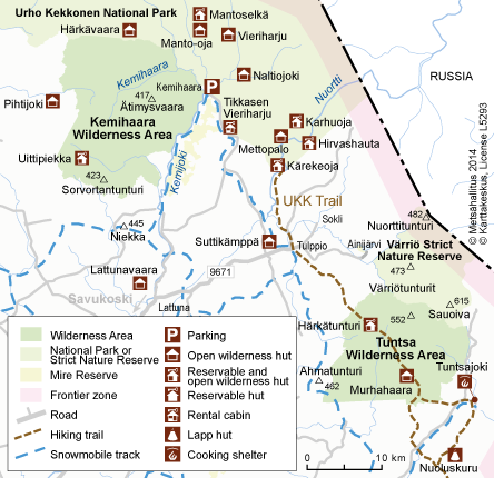 Map of Kemihaara Wilderness Area © Metsähallitus 2014