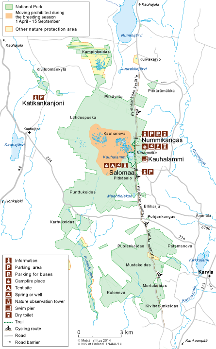 Map of Kauhaneva-Pohjankangas National Park.