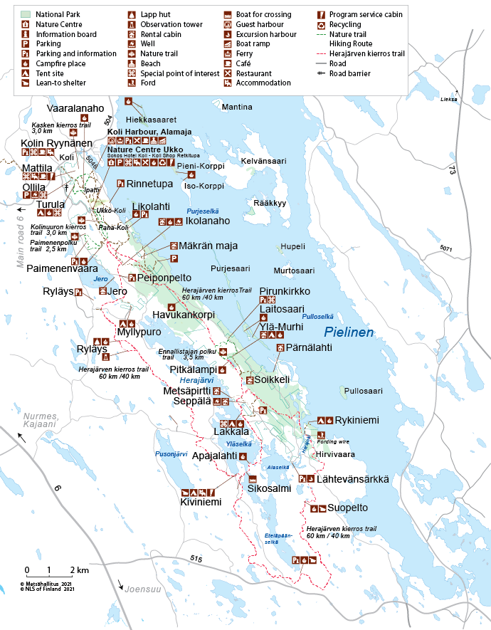 Map of Koli National Park. © Metsähallitus 2015