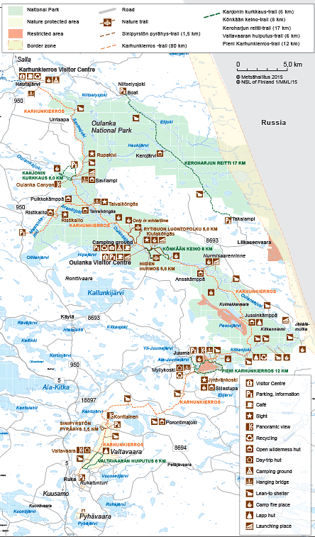 Map of Oulanka National Park. © Metsähallitus 2015