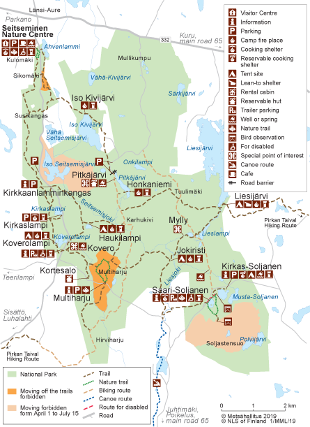 Map of Seitseminen National Park. © Metsähallitus 2014