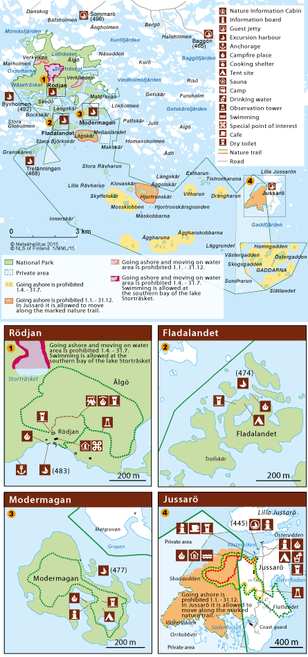 Map of Ekenäs Archipelago National Park. © Metsähallitus 2015