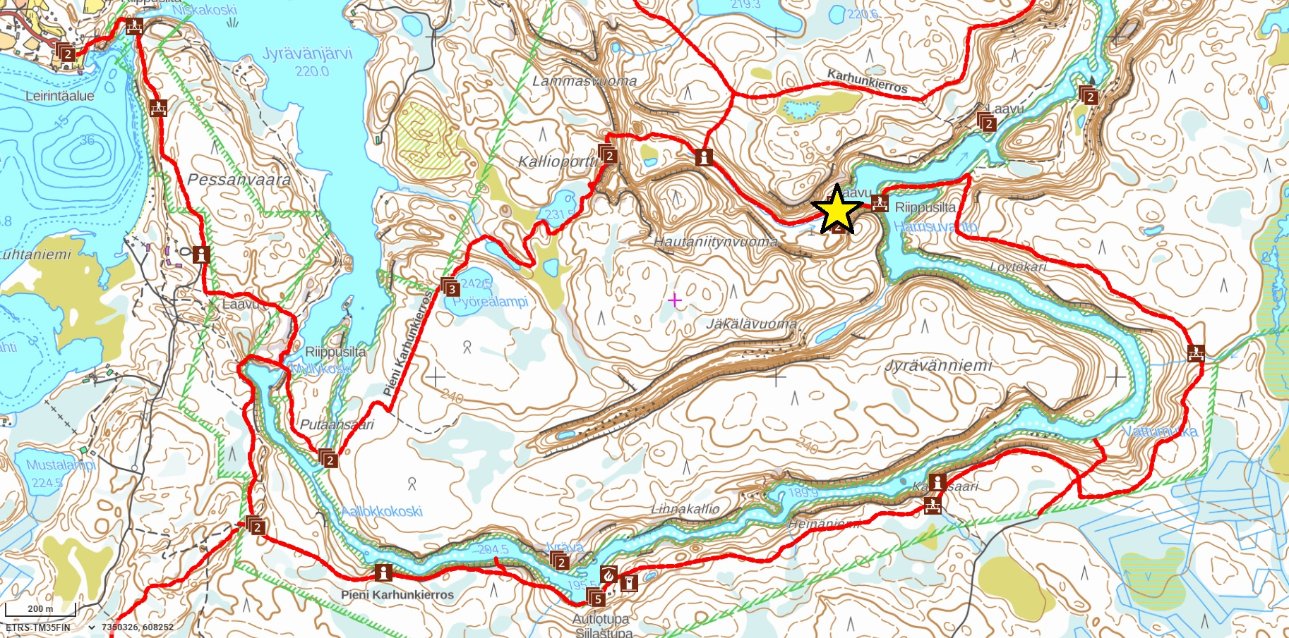 Map of Pieni Karhunkierros Hiking Trail